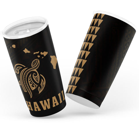 Image of Kakau Polynesian Turtle Map Hawaii Tumbler - Gold - AH - J6 - Alohawaii
