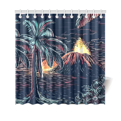 Night On The Land Shower Curtain - AH J9 - Alohawaii