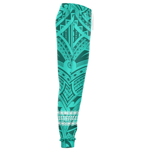 Image of Hawaii Warrior Map Turquoise Kakau Joggers - AH - J1