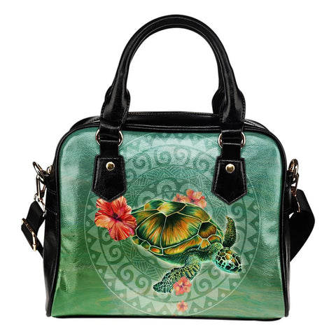 Turtle And Hibiscus Shoulder Handbag 01 - AH - Alohawaii