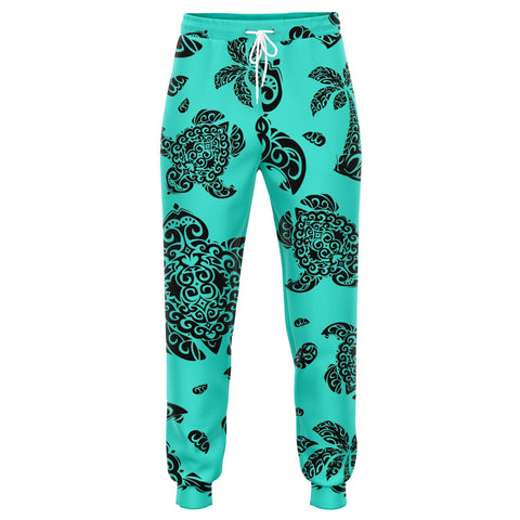 Image of Polynesian Turtle Palm And Sea Pebbles Turquoise Joggers
