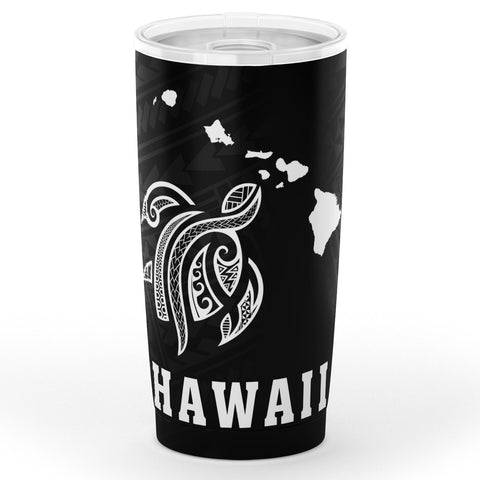 Image of Kakau Polynesian Turtle Map Hawaii Tumbler - White - AH - J6 - Alohawaii
