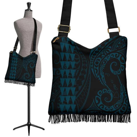 Hawaii Map Polynesian Crossbody Boho Handbag Blue Coral - AH J4