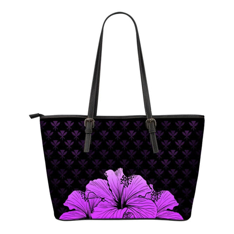 Kanaka Hibiscus Small Leather Tote Violet - Rich Style - AH - J1 - Alohawaii