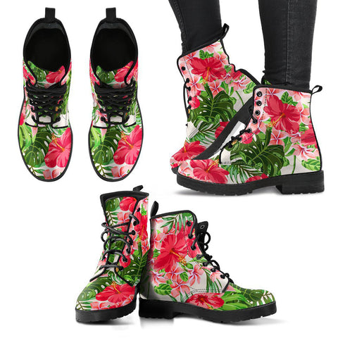 Hawaii Pink Hibiscus Leather Boots - AH J2
