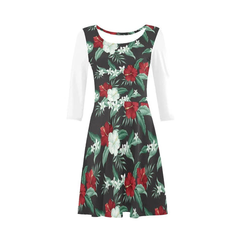 Hibiscus Red And White Sleeve Sundress - AH - Alohawaii
