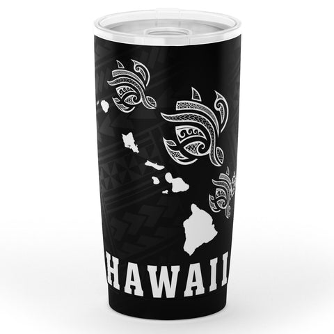 Kakau Polynesian Three Turtles Map Hawaii Tumbler - White - AH - J6 - Alohawaii