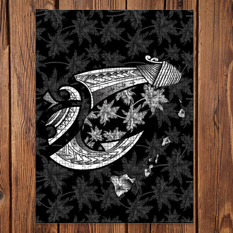Hawaiian Map Palm Trees Fish Hook Polynesian Jigsaw Puzzle - AH - White - J5 - Alohawaii