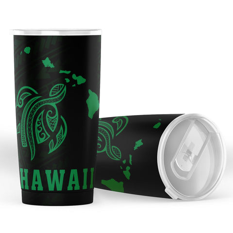 Image of Kakau Polynesian Turtle Map Hawaii Tumbler - Green - AH - J6 - Alohawaii