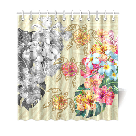 Hawaii Polynesian Flowers Swimming Turtles Shower Curtain - AH - J5 - Alohawaii