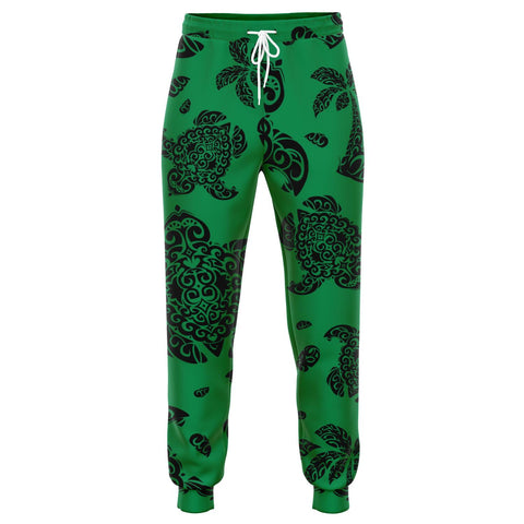 Image of Polynesian Turtle Palm And Sea Pebbles Green Joggers