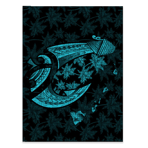 Hawaiian Map Palm Trees Fish Hook Polynesian Jigsaw Puzzle - AH - Blue - J5 - Alohawaii