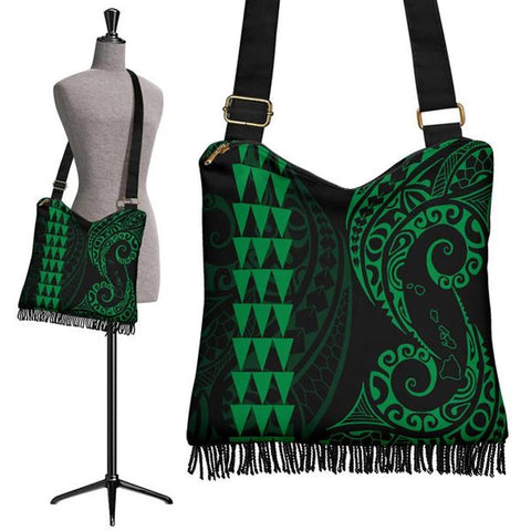 Hawaii Map Polynesian Crossbody Boho Handbag Green - AH J4