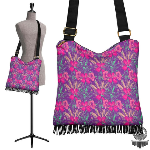 Image of Hawaii Tropical Hibiscus Purple Crossbody Boho Handbag - AH - J71 - Alohawaii
