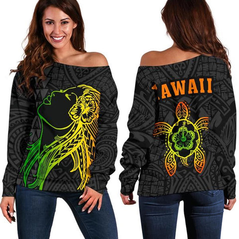 Hula Girl And Turtle Hibiscus Women's Off Shoulder Sweater