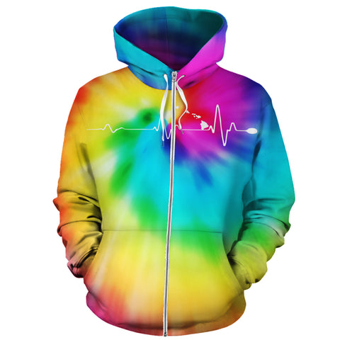Image of Hawaiian Map Hoodie (Zipper) Tie Dye - AH - J1