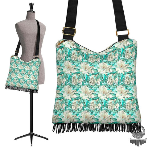 Image of Hawaii Tropical Blue Crossbody Boho Handbag - AH - J71 - Alohawaii