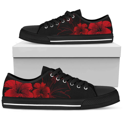 Hawaii Hibiscus Black And Red Low Top Shoe - AH J2