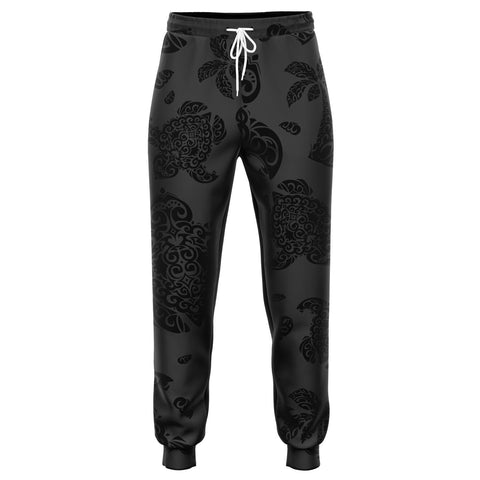 Polynesian Turtle Palm And Sea Pebbles Gray Joggers