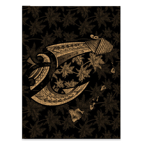Hawaiian Map Palm Trees Fish Hook Polynesian Jigsaw Puzzle - AH - Gold - J5 - Alohawaii