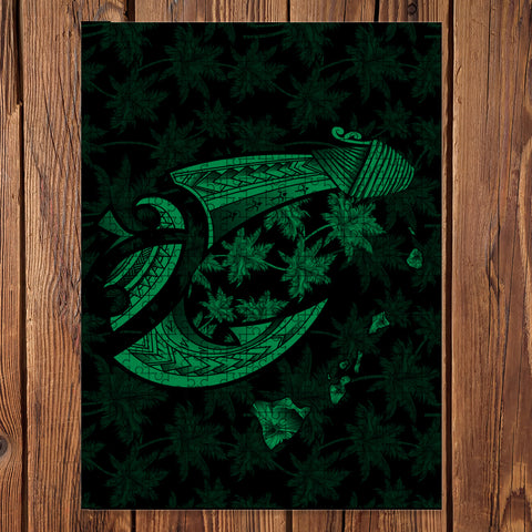 Hawaiian Map Palm Trees Fish Hook Polynesian Jigsaw Puzzle - AH - Green - J5 - Alohawaii