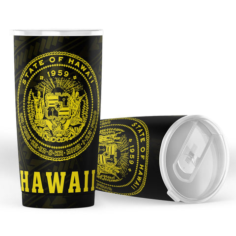 Kakau Polynesian Coat Of Arms Hawaii Tumbler - Yellow - AH - J6 - Alohawaii