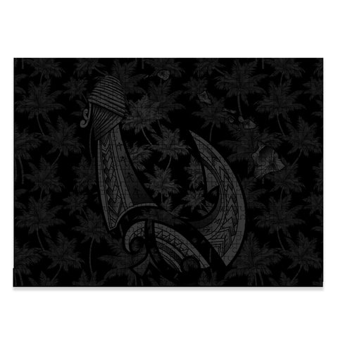 Hawaiian Map Palm Trees Fish Hook Polynesian Jigsaw Puzzle - AH - Grey - J5 - Alohawaii