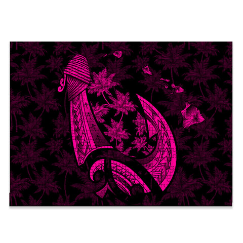 Hawaiian Map Palm Trees Fish Hook Polynesian Jigsaw Puzzle - AH - Pink - J5 - Alohawaii