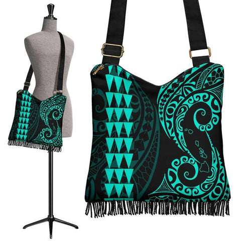 Hawaii Map Polynesian Crossbody Boho Handbag Turquoise - AH J4