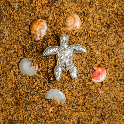 Hawaii Turtle Necklace Pendant - Handmade Sterling Silver Jewelry - AH - J1 - Alohawaii
