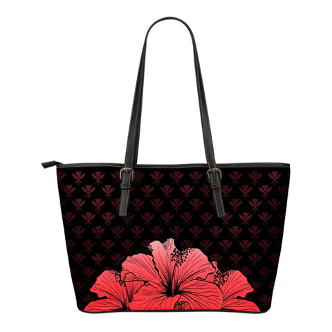 Kanaka Hibiscus Small Leather Tote Red - Rich Style - AH - J1 - Alohawaii