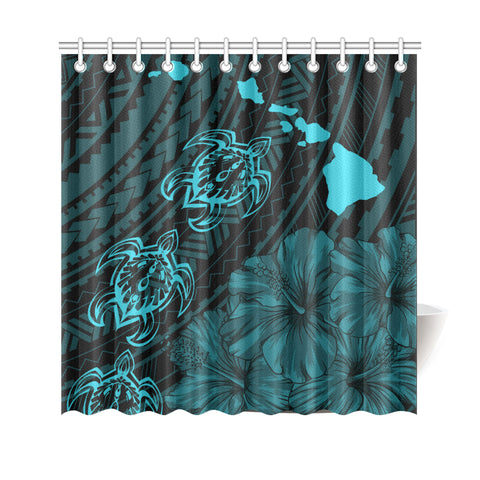 Hawaii Sea Turtle Is Swimming Toward Shower Curtain Blue - AH - J5 - Alohawaii