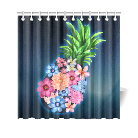Image of Pineapple Hibiscus Pattern Shower Curtain - AH J9 - Alohawaii