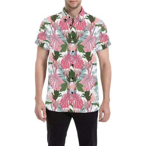 Image of Pink Monstera And Green Tropical Leaves White Shirt - AH - J7 - Alohawaii