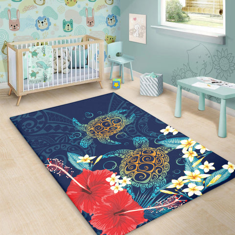 Image of Hawaiian Turtle Hibiscus Polynesian Area Rug - Blue