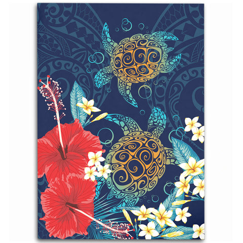Image of Hawaiian Turtle Hibiscus Polynesian Area Rug - Alohawaii