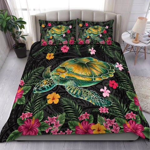 Aloha Turtle Hibiscus Tropical Polynesian Bedding Set - Yam - AH - J2