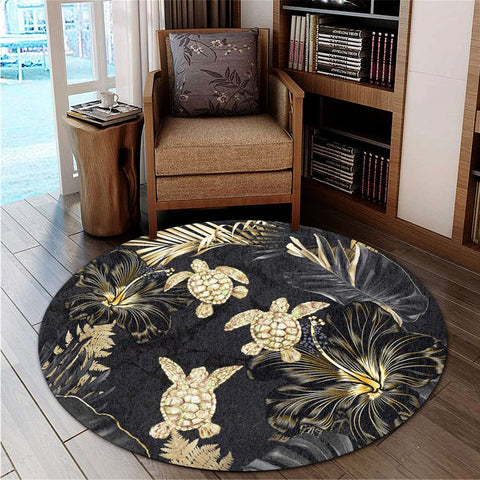 Image of Hawaiian - Golden Tropical Turtle Round Carpet AH - J0R | Alohawaii Store | Home Set Home Decor | Accessories for your home | Hawaiian Round Carpet | Polynesian design for you