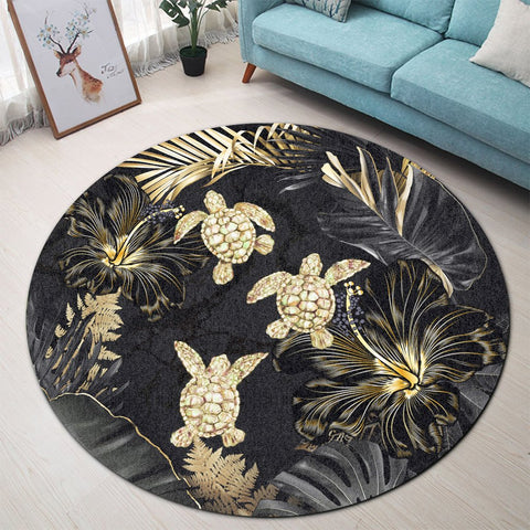 Image of Hawaiian - Golden Tropical Turtle Round Carpet AH - J0R