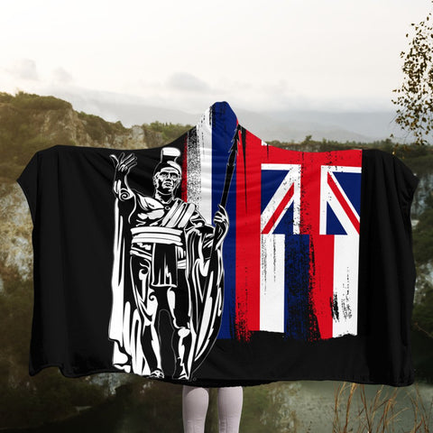 Hawaiian - Hawaii King Flag Hooded Blanket - AH - J4R | Hawaii Hooded Blanket - Hawaiian Hooded Blanket - Hooded Blanket For You