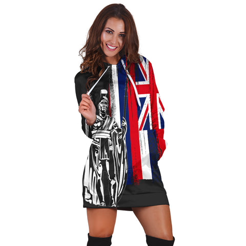 Hawaiian King Flag Hoodie Dress