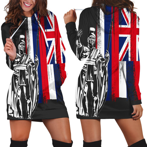 Hawaiian King Flag Hoodie Dress - AH - J4R
