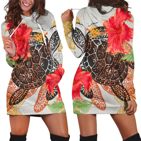 Hawaiian Turtle Art Hibiscus Hoodie Dress - AH - J4R