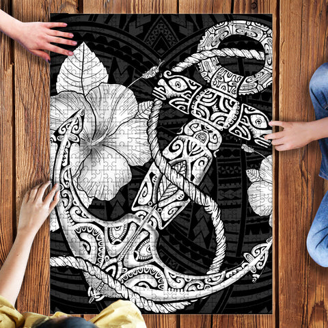 Anchor Poly Tribal White Puzzle - AH - J1 - Alohawaii