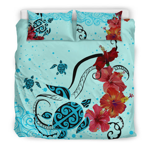 Image of Hawaiian Sea Turtle Hibiscus Brilliant Polynesian Bedding Set - AH - J1