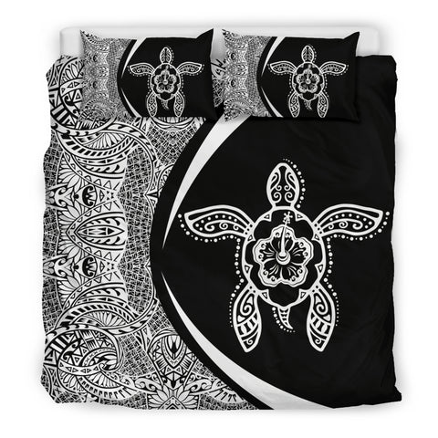 Hawaiian Hibiscus Turtle Polynesian  Bedding Set- Circle Style White -AH - J7 - Alohawaii