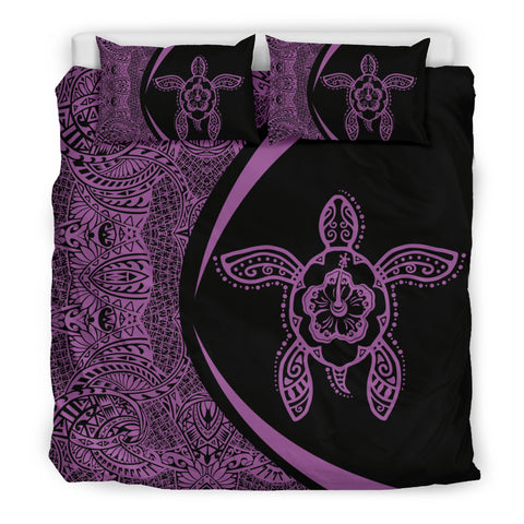 Hawaiian Hibiscus Turtle Polynesian  Bedding Set-Circle Style Purple - AH - J7 - Alohawaii