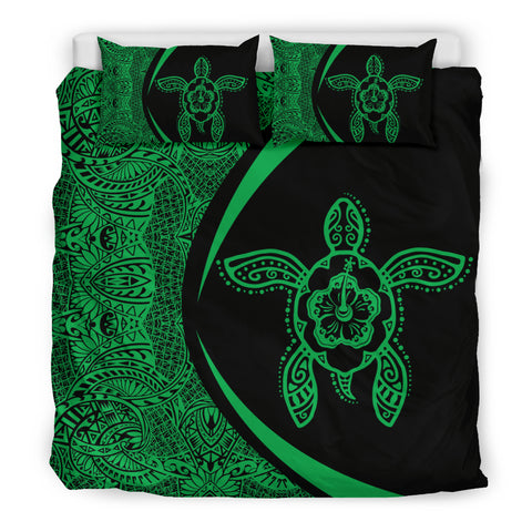 Hawaiian Hibiscus Turtle Polynesian  Bedding Set-Circle Style Green - AH - J7 - Alohawaii