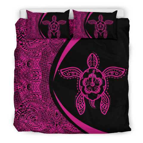 Hawaiian Hibiscus Turtle Polynesian Bedding Set-Circle Style Pink - AH - J7 - Alohawaii