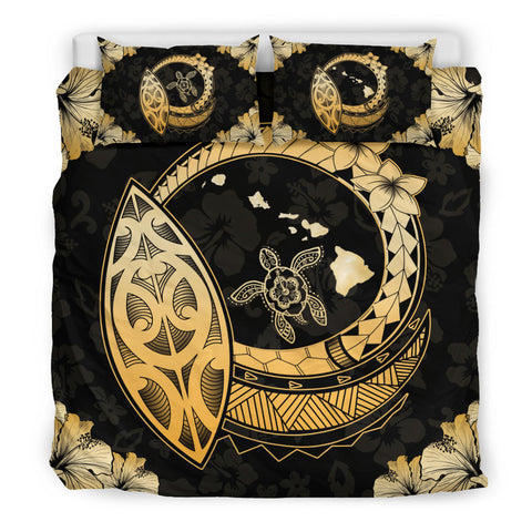 Image of Hawaiian Map Hibiscus Plumeria Turtle Polynesian Bedding Set - AH J1 - Alohawaii